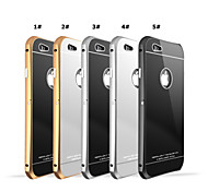 Aluminum Metal Frame Bumper Tempered Glass Back Cover Case For i phone 6 Plus