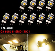 10X G4 5 SMD 3500K Warm White Car RV Marine Light Home Car Marine Bulbs 12V DC