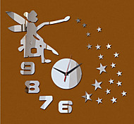 Acrylic 3D Mirror Home Decor Angel Stars Wall Clock Mirror Surface Sticker