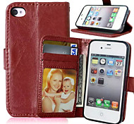 High quality PU leather wallet mobile phone holster Case For iPhone 4/4S(Assorted Color)
