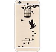 черная кошка ТПУ материал мягкий чехол для iphone телефон 6 плюс / 6с плюс