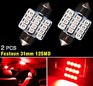 2 X Pure Red 31MM 12SMD Festoon Dome Map Interior LED Light Bulbs DE3175 DE3021