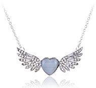 Korean Fashion  Drill  Angel Wings Opal Pendant Alloy  Necklace