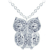 European Style Fashion Zircon Owl Pendant Silvering Necklace