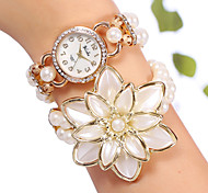 yilisha® donne oro rosa placcato strass quadrante rotondo grande perline fiore orologi braccialetto doppio avvolgimento