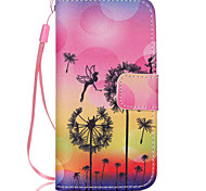 Dandelion  Pattern PU Leather Phone Case For iPhone 5C