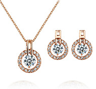T&C Women's Elegant Bridal Jewelry 18k Rose Gold Plated Crystal Round Cz Diamond Earrings and Necklace Set