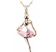 T&C Women's Elegant Gift 18k Rose Gold Plated Light Pink Rhombus Crystal Dancing Girl Pendant Necklace