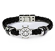Fashion Men Bracelet Rudder Helm Leather Bracelet