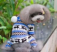 Собаки Комбинезоны Пижамы Синий Коричневый Розовый серый Одежда для собак Зима Весна/осень В снежинку Милые На каждый день