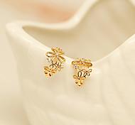 Fashion Fresh Sweet Flowers Rhinestone Clip Earrings