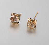 European and American fashion silver square diamond earrings Stud Earrings Wedding / Party / Daily / Casual 2pcs