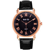 Men's Leather Band Quartz Wristwatch