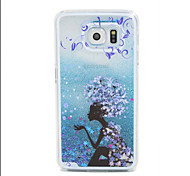 Blue Campanula Flow Sand PC Material Cell Phone Case for Samsung Galaxy S6/S6 edge