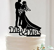 Private Custom Bride Groom Silhouette Initial Wedding Cake Topper Event Party Supplies Fondant Acrylic Decorations Tools