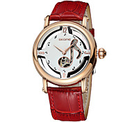 Skone® Women's Luxury Hardlex Notes Genuine Leather Strap Automatic Self-Wind Mechanical Watches Cool Watches Unique Watches Fashion Watch