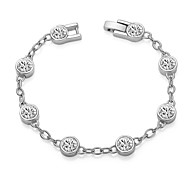 T&C Women's Clear Simulated Diamond Jewelry 18k White Gold Plated Shining Austria Crystal Link Bracelet