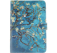 Apricot Blossom Tree Pattern PU Leather Full Body Case with Stand and Card Slot for iPad mini 4