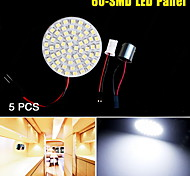 5PCS Xenon White 1156 BA15S T10 60-SMD LED Light Panel RV Trailer Interior Dome