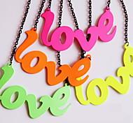 Fashion LOVE Long Choker Sweater Necklace Pendant