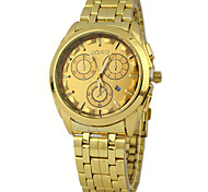 Men's Watch European Style  Fashionable Golden Case Alloy Golden Band With Calendar Wrist Watch Cool Watch Unique Watch