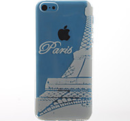 White Love in Paris Pattern Transparent Soft TPU Back Cover for iPhone 5C