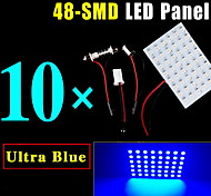 10 X Blue Festoon T10 BA9S LED 48SMD Panel Interior Dome Map Light Bulb Lamp 12V