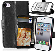 Luxury PU Leather Wallet Flip With Card Slot Photo Frame Stand Cover For iPhone 4/4S