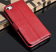 Litchi Pattern Genuine Leather Full Body Phone Protective Shell with Stand iPhone 5/5S