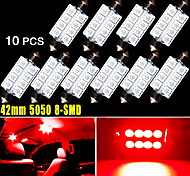 10 X 42MM 5050 8SMD Festoon Pure Red Interior Dome Door LED Light 569 578 US