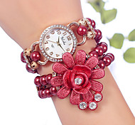 YILISHA ® Girls' Beads Bangle Bracelet Watches Round Dial Quartz Dress Watches Flower Rhinestone Pendant Jewelry Cool Watches Unique Watches