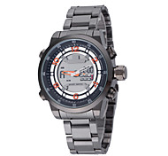 Men's Cool Sport Round Dial Stainless Steel Band Quartz Analog Water Resistant Wrist Watch(Assorted Color)