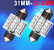 2 X Ultra Blue 31MM 12SMD Festoon Dome Interior LED Light bulbs DE3175 3021 6428