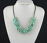 Toonykelly®Vintage Look Handmake Irregular Turquoise Stone Necklace(1 Pc)