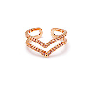 Fashion Ladies Casual 3A Zircon Gold Plated Ring