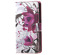 Purple Flowers Magnetic Leather Wallet Handbag Book Cover Case For Flip Huawei ascend G7