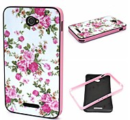 2-in-1 Pink Rose Peony Pattern TPU Back Cover + PC Bumper Shockproof Soft Case For Sony E4
