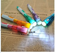 3PCS Flashlight Ballpoint Pen (Random Color)