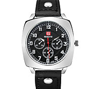 Fashion Casual Men's Leather Band Quartz Wristwatch