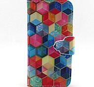 шестиугольник шаблон PU кожаный чехол для всего тела с слот для карт и для iPhone стоят 5с