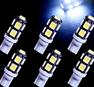 6 pc super-T10 bianco cuneo 9-SMD 5050 ha condotto le lampadine 192 168 194 158 2825 W5W