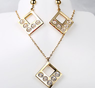 European and American fashion new square 5 diamond necklace Earring Sets