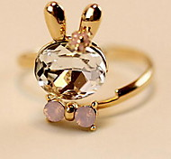 Sweet Women'S Gold Alloy Bunnies Pink Crystal Ring(White,Pink)(1 Pc)