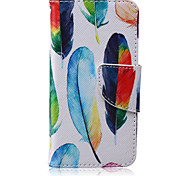 Feather Pattern PU Leather Material Flip Card Phone Case for iPhone 5/5S