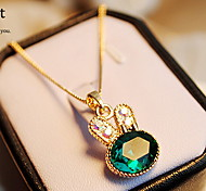Women's Korea Cute Little Rabbit Crystal Diamond Sweater Chain