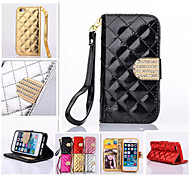 Diamond Design Leather Photo Frame Flip Stand Wallet Wrist Strap Rope Cover Case For iPhone 4/4S(Assorted Color)
