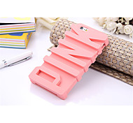 Fashion 3D PINK Letter Soft Silicone Rubber Case for iPhone 6 Plus/6S Plus Back Covers (Assorted Colors)