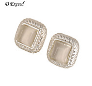 D Exceed Womens Silver Plated Stud Earrings Square Stud Earrings with Opal for Ladies Latest New Design 2015