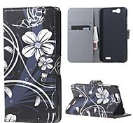 fleurs blanches en cuir magnétique cas de couverture de livre portefeuille de sac à main pour Huawei Ascend bascule g7