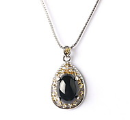 Black Water Drippin Drop Pendant Necklace Turkish Jewelry